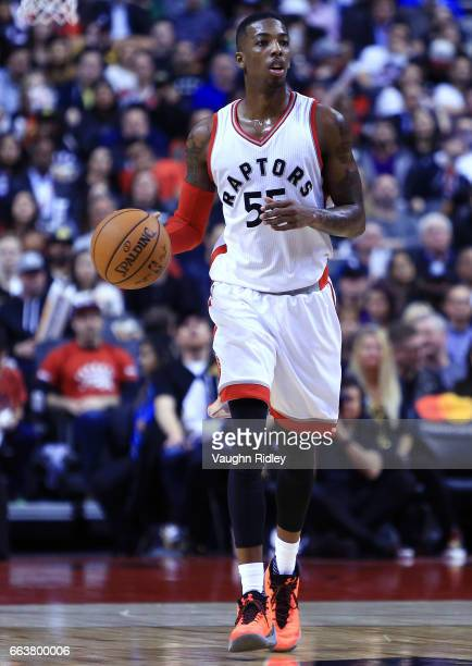 Delon Wright of the Toronto Raptors dribbles the ball during the second half of an NBA game against the Orlando Magic at Air Canada Centre on March...