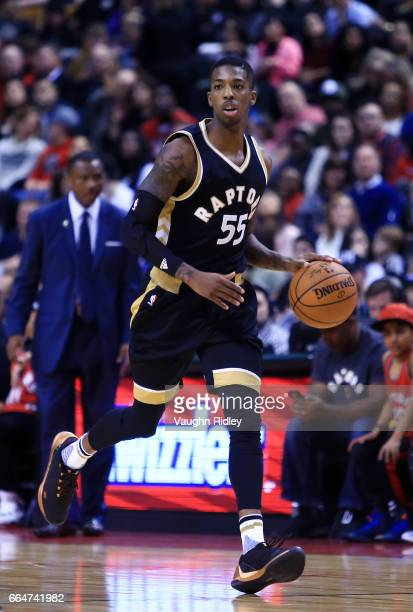 Delon Wright of the Toronto Raptors dribbles the ball during the second half of an NBA game against the Indiana Pacers at Air Canada Centre on March...