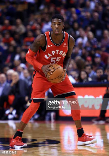 Delon Wright of the Toronto Raptors dribbles the ball during the second half of an NBA game against the Chicago Bulls at Air Canada Centre on October...
