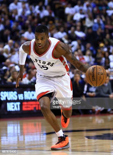 Delon Wright of the Toronto Raptors dribbles the ball in the first half of Game Three of the Eastern Conference Semifinals against the Cleveland...