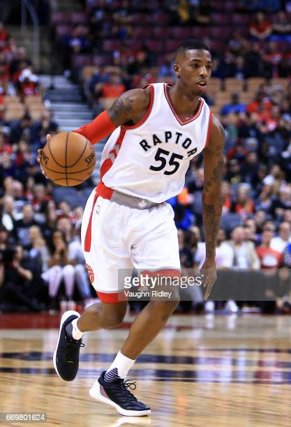 Delon Wright of the Toronto Raptors dribbles the ball in the second half of Game One of the Eastern Conference Quarterfinals against the Milwaukee...