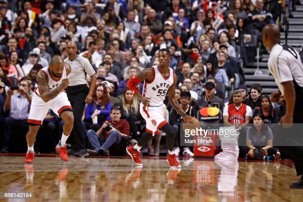 Delon Wright of the Toronto Raptors dribbles the ball up court against the Indiana Pacers on March 19 2017 at Air Canada Centre in Toronto Ontario...