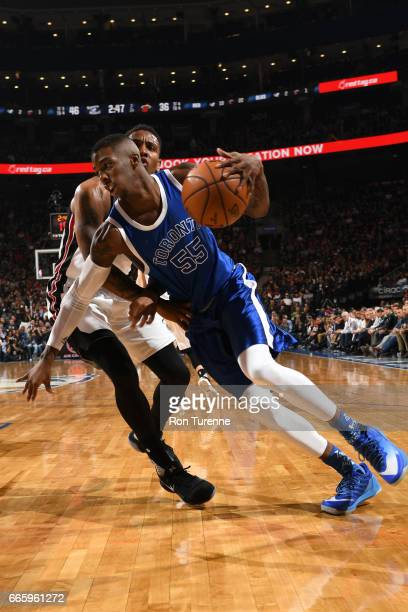Delon Wright of the Toronto Raptors drives to the basket against the Miami Heat on April 7 2017 at the Air Canada Centre in Toronto Ontario Canada...