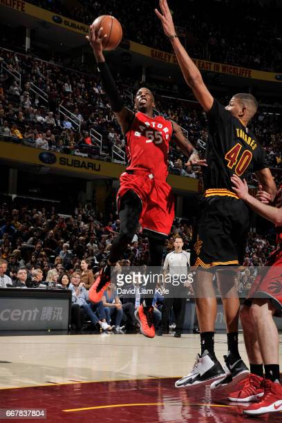 Delon Wright of the Toronto Raptors drives to the basket against the Cleveland Cavaliers on April 12 2017 at Quicken Loans Arena in Cleveland Ohio...