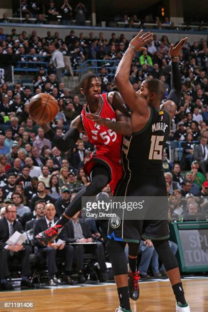 Delon Wright of the Toronto Raptors drives to the basket and passes the ball against the Milwaukee Bucks during Game Three of the Eastern Conference...