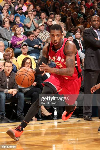 Delon Wright of the Toronto Raptors drives to the basket during the game against the Indiana Pacers on April 4 2017 at Bankers Life Fieldhouse in...