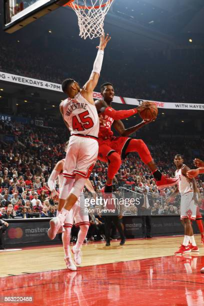 Delon Wright of the Toronto Raptors drives to the basket during the game against the Chicago Bulls on October 19 2017 at the Air Canada Centre in...