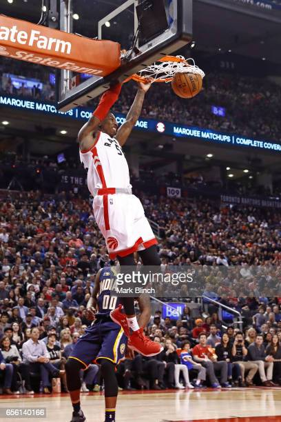 Delon Wright of the Toronto Raptors dunks the ball against the Indiana Pacers on March 19 2017 at Air Canada Centre in Toronto Ontario Canada NOTE TO...