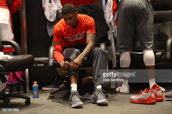 Delon Wright of the Toronto Raptors gets ready before Game Six of the NBA Eastern Conference Finals against the Cleveland Cavaliers at Air Canada...