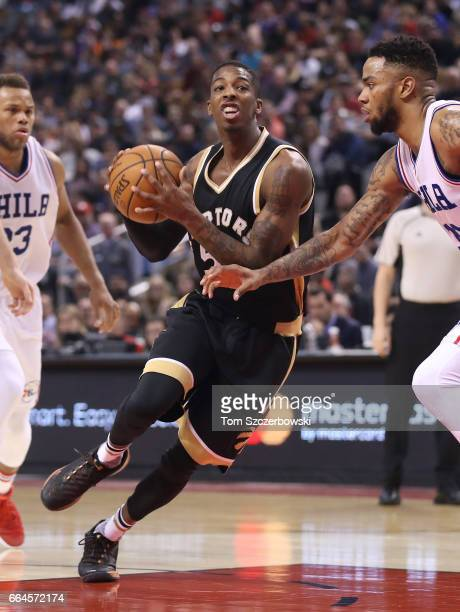Delon Wright of the Toronto Raptors goes to the basket against the Philadelphia 76ers during NBA game action at Air Canada Centre on April 2 2017 in...