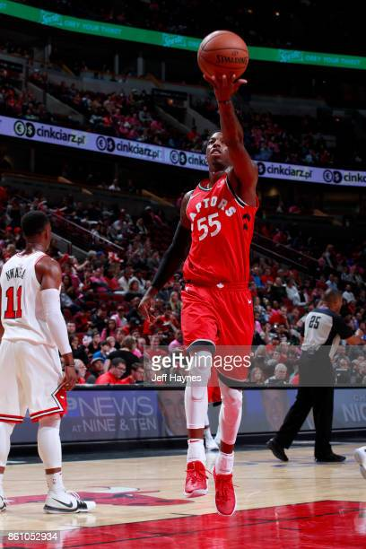 Delon Wright of the Toronto Raptors goes to the basket against the Chicago Bulls on October 13 2017 at the United Center in Chicago Illinois NOTE TO...