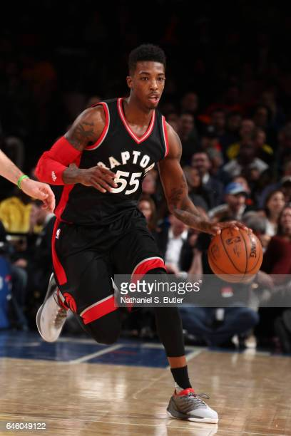Delon Wright of the Toronto Raptors handles the ball against the New York Knicks on February 27 2017 at Madison Square Garden in New York City NOTE...