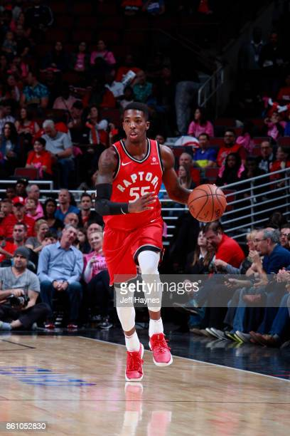 Delon Wright of the Toronto Raptors handles the ball against the Chicago Bulls on October 13 2017 at the United Center in Chicago Illinois NOTE TO...