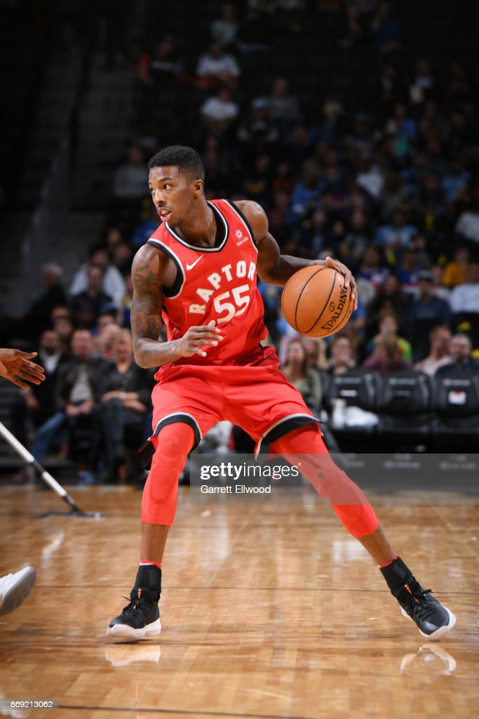 7a0bdea42 Delon Wright 55 of the Toronto Raptors handles the ball against the Denver  Nuggets on