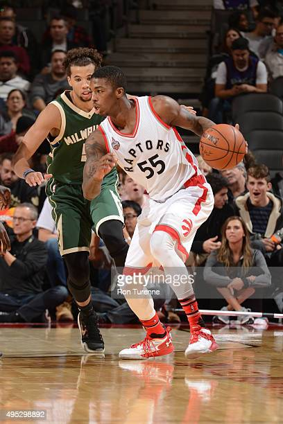 Delon Wright of the Toronto Raptors handles the ball against the Milwaukee Bucks during the game on November 1 2015 at the Air Canada Centre in...