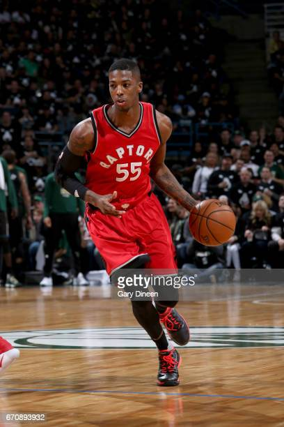 Delon Wright of the Toronto Raptors handles the ball against the Milwaukee Bucks during Game Three of the Eastern Conference Quarterfinals of the...