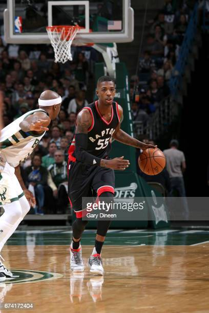 Delon Wright of the Toronto Raptors handles the ball against the Milwaukee Bucks during Game Six of the Eastern Conference Quarterfinals of the 2017...