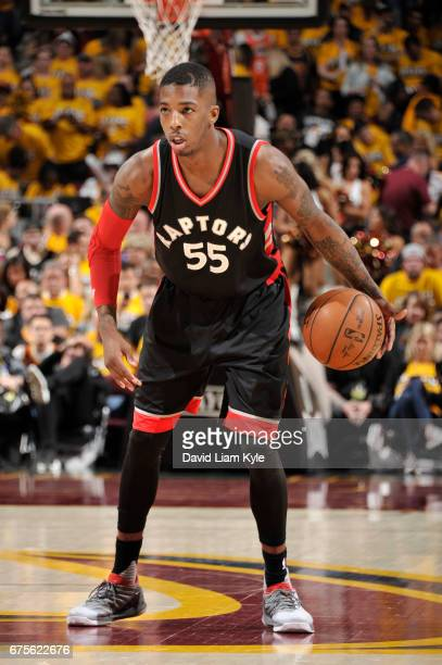 Delon Wright of the Toronto Raptors handles the ball against the Cleveland Cavaliers during Game One of the Eastern Conference Semifinals of the 2017...