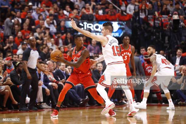 Delon Wright of the Toronto Raptors handles the ball against the Chicago Bulls during the game on October 19 2017 at the Air Canada Centre in Toronto...