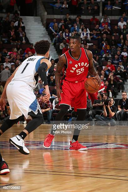 Delon Wright of the Toronto Raptors handles the ball against Tyus Jones of the Minnesota Timberwolves at Canadian Tire Centre on October 14 2015 in...