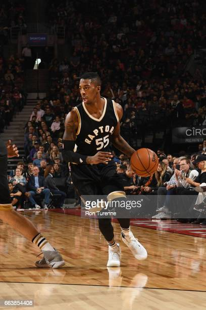 Delon Wright of the Toronto Raptors handles the ball during a game against the Philadelphia 76ers on April 2 2017 at the Air Canada Centre in Toronto...