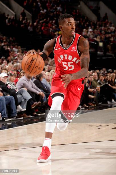 Delon Wright of the Toronto Raptors handles the ball during the preseason game against the Portland Trail Blazers on October 5 2017 at the Moda...