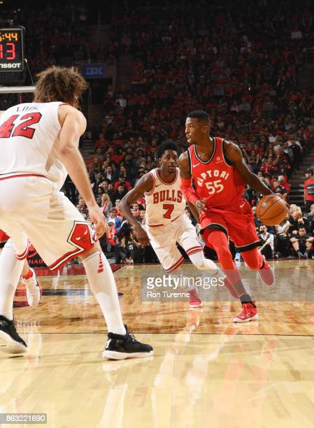 Delon Wright of the Toronto Raptors handles the ball during the game against the Chicago Bulls on October 19 2017 at the Air Canada Centre in Toronto...