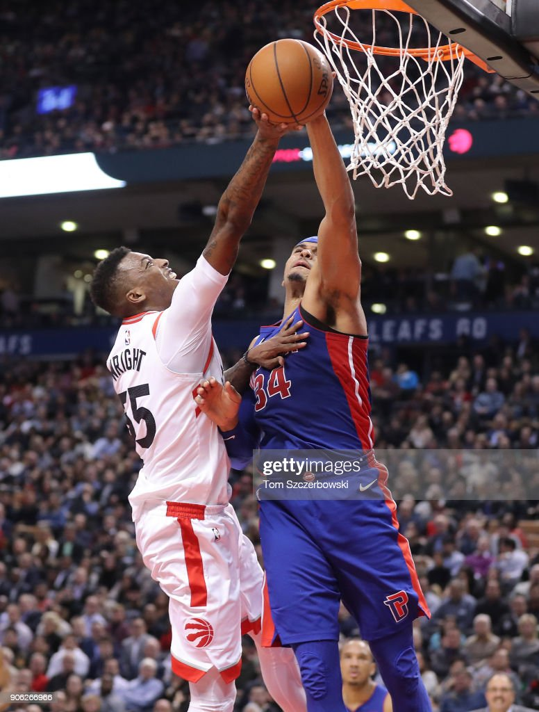 Delon Wright #55 of the Toronto Raptors has his shot blocked by Tobias Harris #34 of the Detroit Pistons at Air Canada Centre on January 17, 2018 in Toronto, Canada.