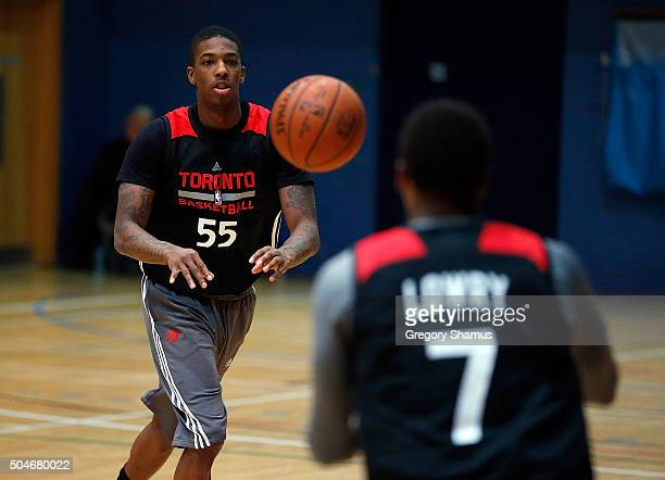 Delon Wright of the Toronto Raptors participates in practice as part of 2016 London Global Games on January 12 2016 in London England NOTE TO USER...