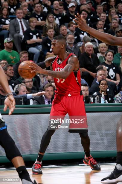 Delon Wright of the Toronto Raptors passes the ball against the Milwaukee Bucks during Game Three of the Eastern Conference Quarterfinals of the 2017...