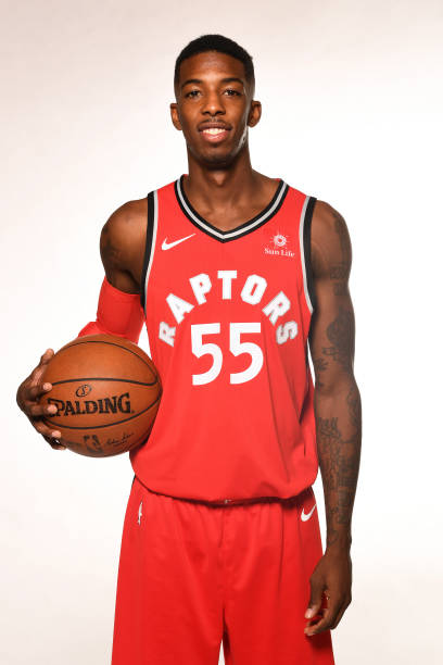 f46d11064 ... Jersey Delon Wright 55 of the Toronto Raptors poses for a portrait  during Media Day on ...