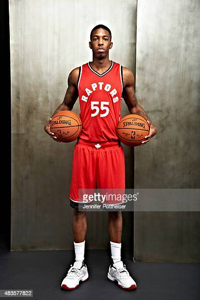 2f4097cb2 ... Delon Wright of the Toronto Raptors poses for a portrait during the  2015 NBA rookie photo ...