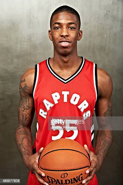 Delon Wright of the Toronto Raptors poses for a portrait during the 2015 NBA rookie photo shoot on August 8 2015 at the Madison Square Garden...