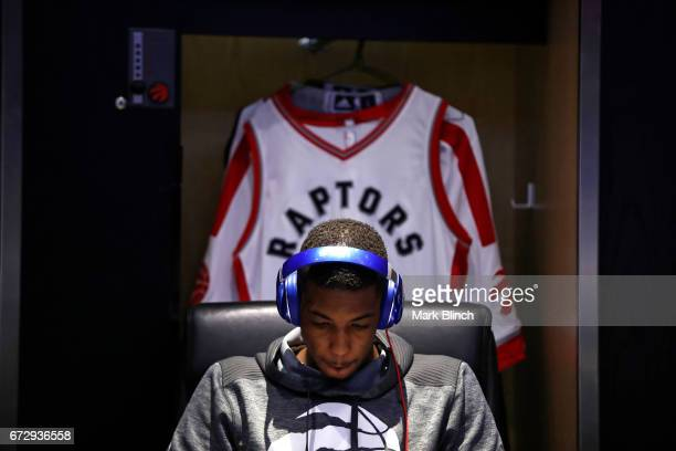 Delon Wright of the Toronto Raptors prepares for the game against the Milwaukee Bucks during Game Five of the Eastern Conference Quarterfinals of the...