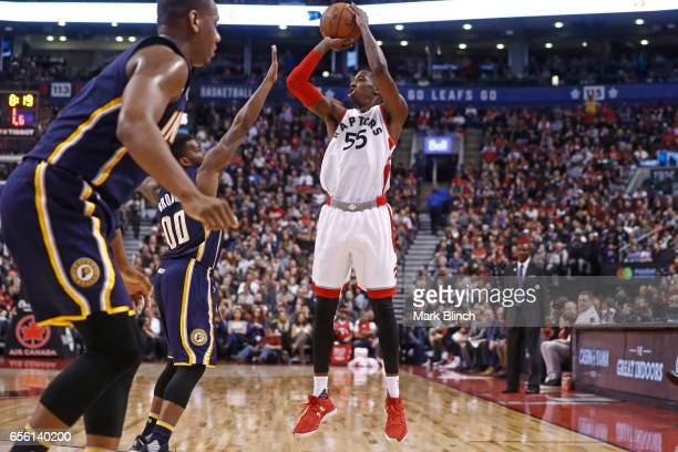 Delon Wright of the Toronto Raptors shoots the ball against the Indiana Pacers on March 19 2017 at Air Canada Centre in Toronto Ontario Canada NOTE...