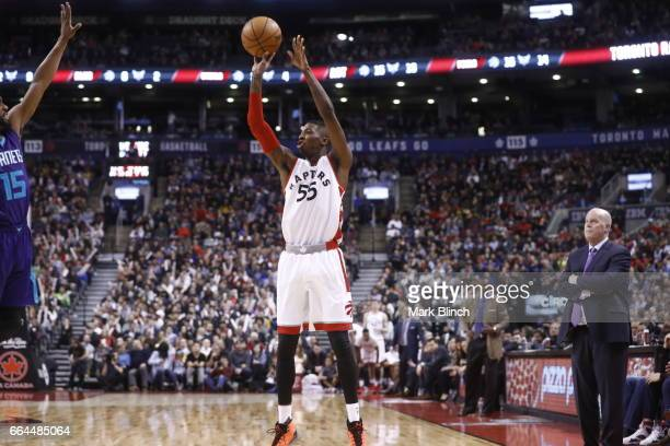 Delon Wright of the Toronto Raptors shoots the ball against the Charlotte Hornets on March 29 2017 at the Air Canada Centre in Toronto Ontario Canada...