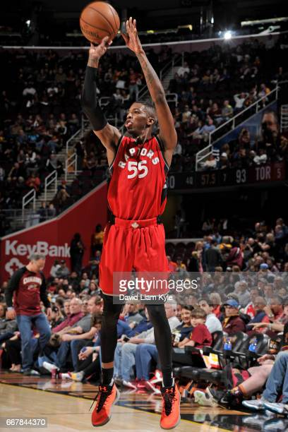 Delon Wright of the Toronto Raptors shoots the ball against the Cleveland Cavaliers on April 12 2017 at Quicken Loans Arena in Cleveland Ohio NOTE TO...
