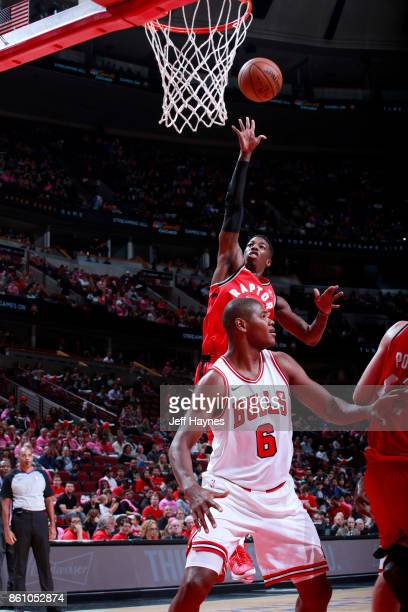Delon Wright of the Toronto Raptors shoots the ball against the Chicago Bulls on October 13 2017 at the United Center in Chicago Illinois NOTE TO...