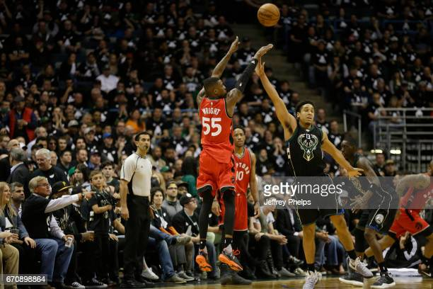 Delon Wright of the Toronto Raptors shoots the ball against the Milwaukee Bucks during Game Three of the Eastern Conference Quarterfinals of the 2017...