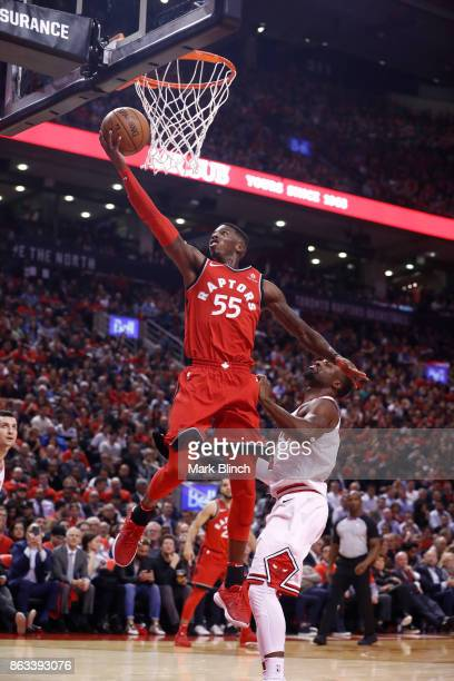 Delon Wright of the Toronto Raptors shoots the ball against the Chicago Bulls during the game on October 19 2017 at the Air Canada Centre in Toronto...