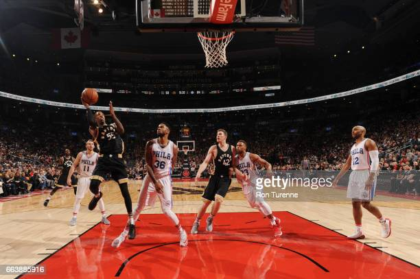Delon Wright of the Toronto Raptors shoots the ball during a game against the Philadelphia 76ers on April 2 2017 at the Air Canada Centre in Toronto...