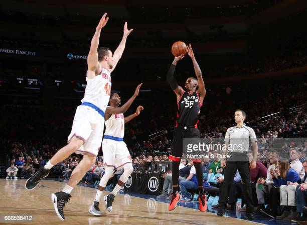 Delon Wright of the Toronto Raptors shoots the ball during a game against the New York Knicks on April 9 2017 at Madison Square Garden in New York...
