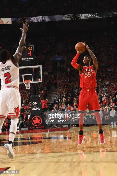 Delon Wright of the Toronto Raptors shoots the ball during the game against the Chicago Bulls on October 19 2017 at the Air Canada Centre in Toronto...