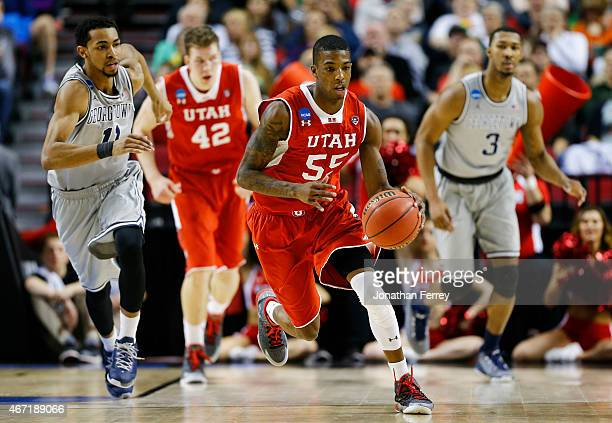 Delon Wright of the Utah Utes drives against the Georgetown Hoyas in the first half during the third round of the 2015 NCAA Men's Basketball...