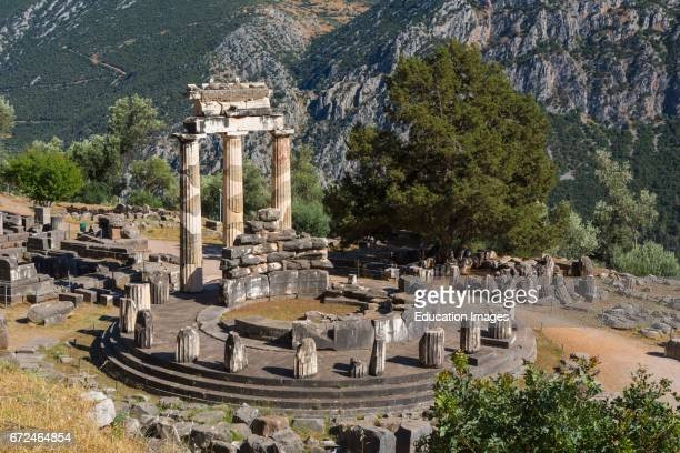 Delphi Phocis Greece The tholos dating from around 380360 BC beside the Sanctuary of Athena Pronaia Ancient Delphi is a UNESCO World Heritage Site
