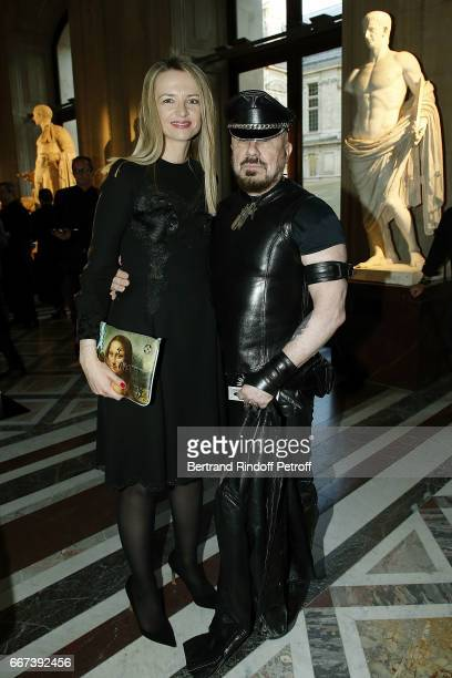 Delphine Arnault and Peter Marino attend the 'LVxKOONS' exhibition at Musee du Louvre on April 11 2017 in Paris France