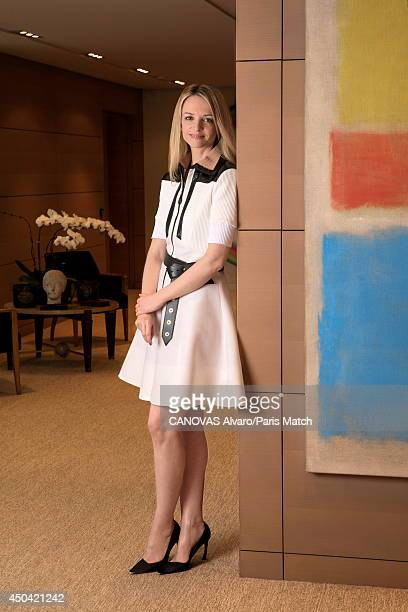 Delphine Arnault daughter of Bernard Arnault and director of Louis Vuitton is photographed for Paris match near a Mark Rothko painting at the...