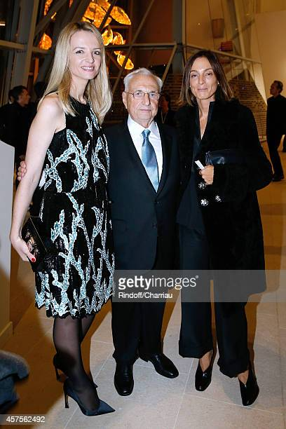 Delphine Arnault Frank Gehry and Phoebe Philo attend the Foundation Louis Vuitton Opening at Foundation Louis Vuitton on October 20 2014 in...