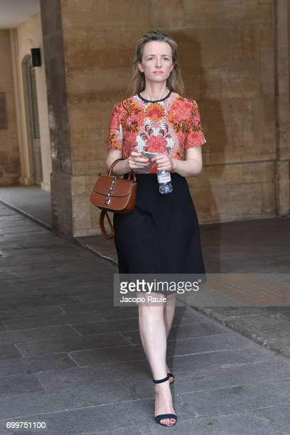 Delphine Arnault is seen arriving at Louis Vuitton fashion show during Paris Fashion Week Menswear Spring/Summer 2018 on June 22 2017 in Paris France