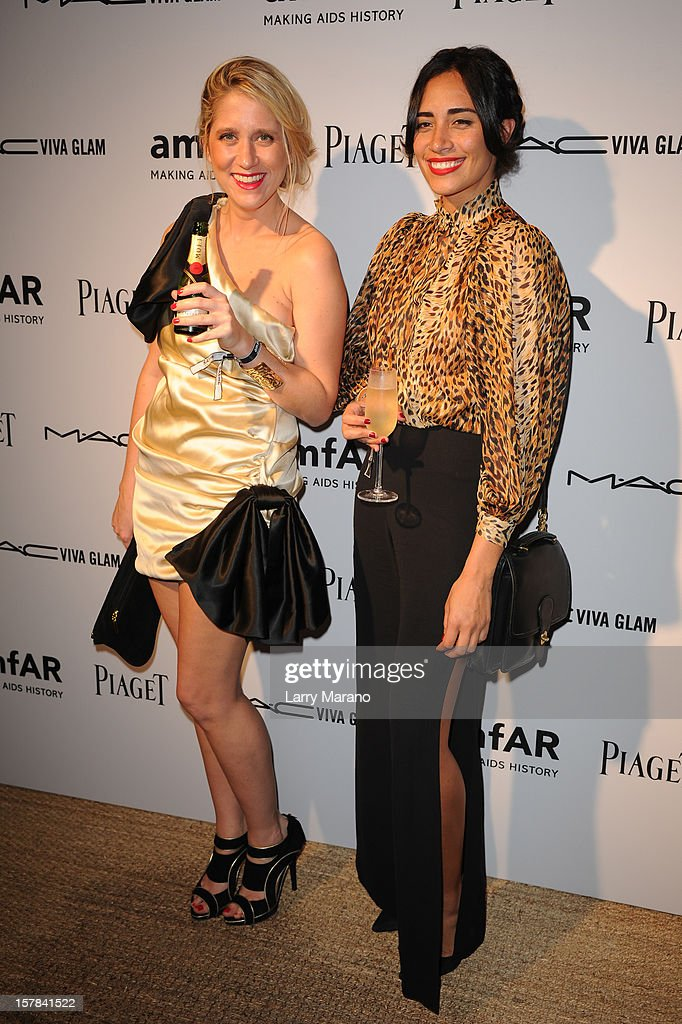 Delphine de Causans and Lola Langusta attend the amfAR Inspiration Miami Beach Party at Soho Beach House on December 6, 2012 in Miami Beach, Florida.